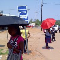 umbrellas at the bus stop in Mochudi
