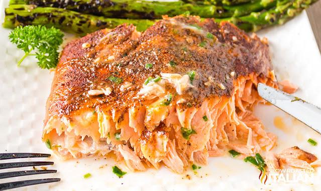 Smoked salmon flecked
