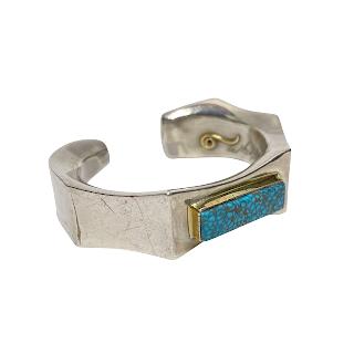 Silver, 14K Gold & Turquoise Heavy Cuff Bracelet