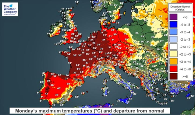 he high temperature forecast for Monday, 6 August 2018 from The Weather Company predicts large portions of Europe will see temperatures more than 8°C (14°F) above average (dark red colors). Graphic: The Weather Company