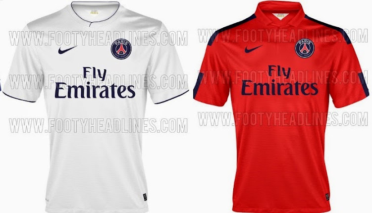 bc105546787 Now the alternative kit for PSG comes in all red as the main colour but has  dark blue stripe on the shoulder which ends the bottom of cuffs.