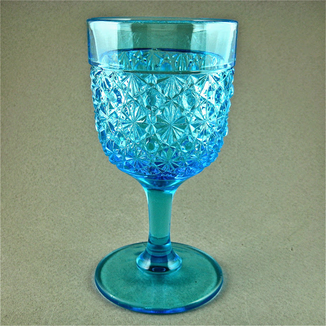 EAPG Blue Daisy and Button Goblet