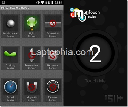 Sensorbox for Android dan Multitouch tester Evercoss Winner T+ Compo