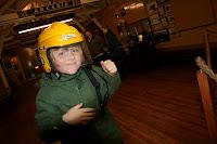 Scout wears a rescue helmet