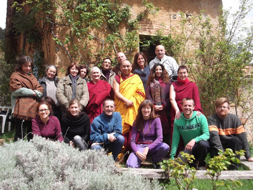 A group of retreatants benefited from a visit with Geshe Jamphel, abbot of Nalanda Monastery in France, Tushita Retreat Center, Arbúcies, Spain, April 2012.