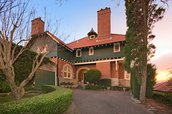 """A sensational, large, turbulent house, with towering chimneys and swirling shingles"" (Apperly), Hollowforth, 146 Kurraba Rd Neutral Bay NSW"