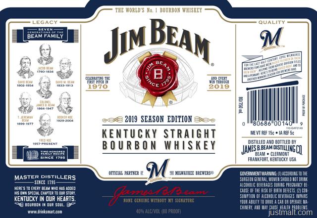 Jim Beam 2019 Season Edition Major League Baseball: Cubs Dodgers, Pirates, Brewers & Astros