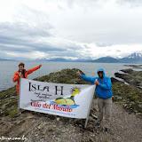 Descida em terra no Estreito de Magallanes, Ushuaia, Argentina