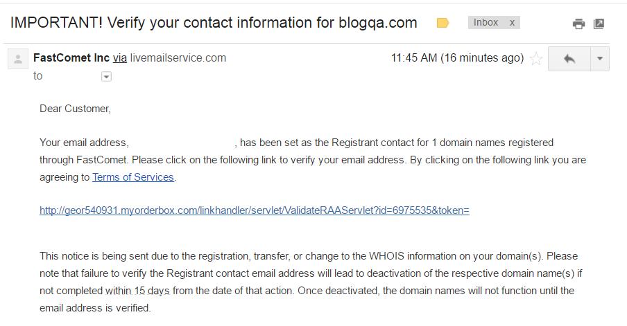 Hinh anh: Email xac nhan cua FastComet