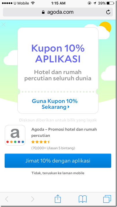 Agoda 10% app coupon