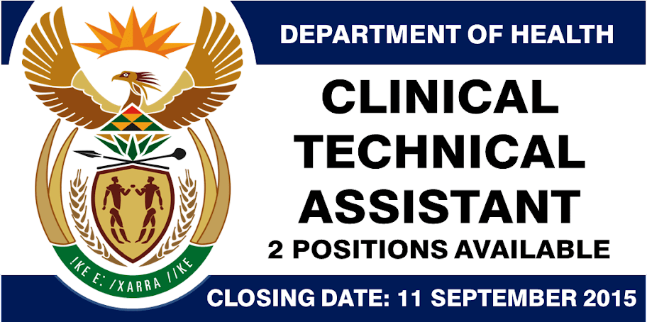 CLINICAL TECHNICAL ASSISTANT - 2 POSITIONS AVAILABLE. Closing Date: 11 Sept 2015