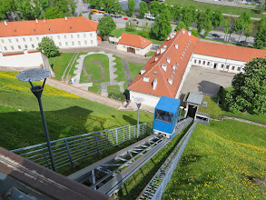 Photo: The funicular on its way up to get us