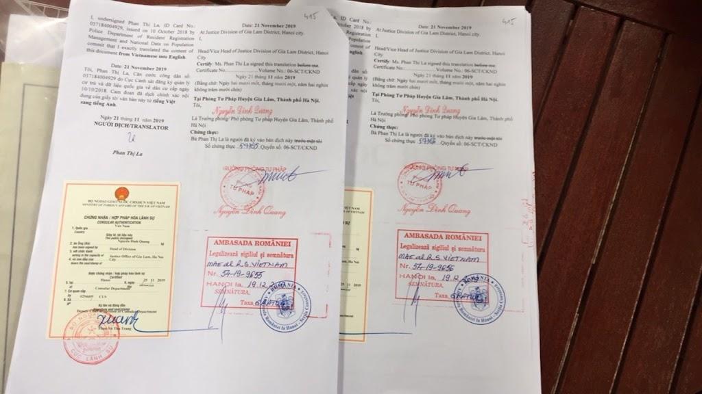 Chứng nhận hợp pháp hóa tại Đại sứ quán Rumani ở Hà Nội