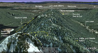 Photo: Google earth image: trail to south Needle via Lynn peak, and return via Hydraulic creek