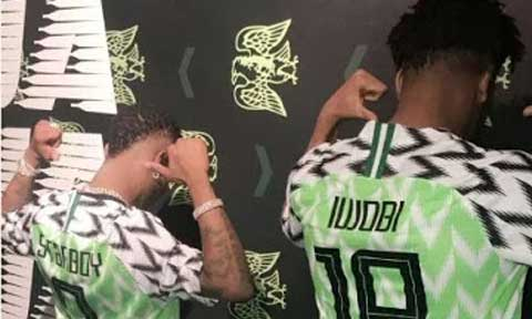 Wizkid and Alex Iwobi Models New Nigerian World Cup Kits  (Photos)