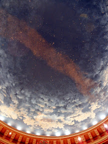 The dome was painted as the stars appeared in the sky the day the church was dedicated