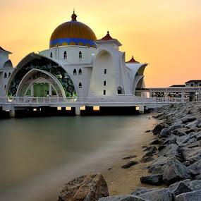 Selat Mosque by Azri Suratmin - Travel Locations Landmarks ( selat, laut, masjid, sunset, azri, melaka, masjid selat, long exposure, azrisuratmin )