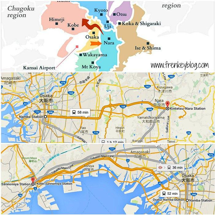 Peta Osaka ke Nara ~ Osaka ke Kobe