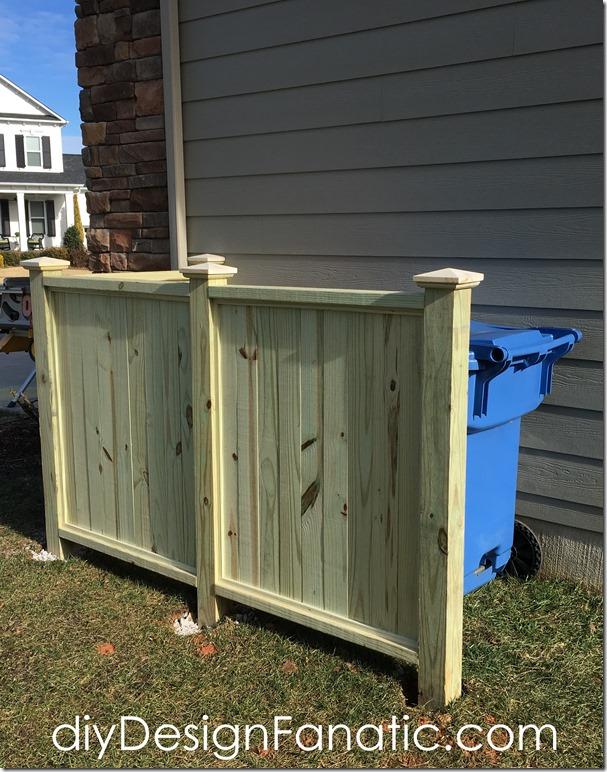 how to build aTrash & Recycle Bin screen, trash enclosure, trash screen, diyDesignFanatic.com