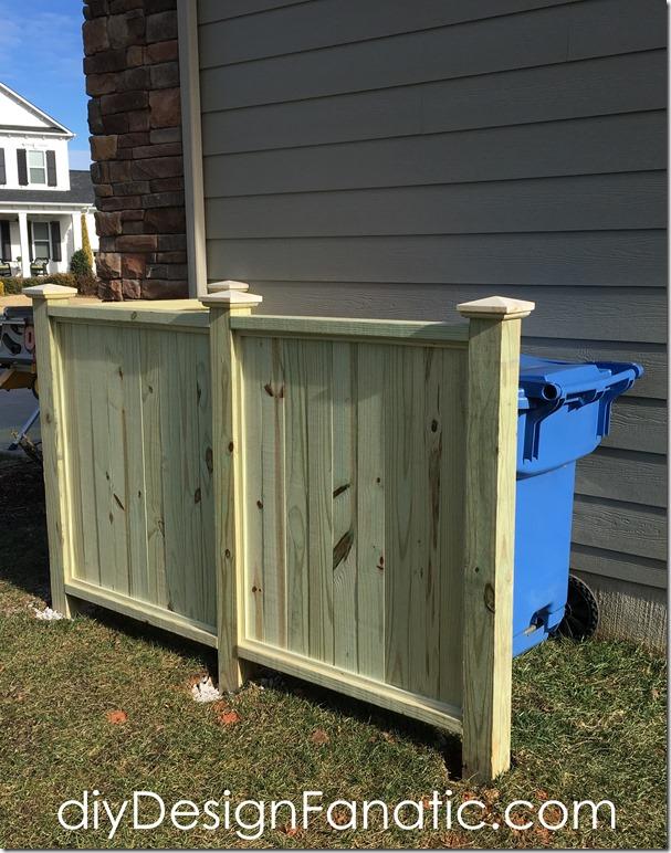 how to build aTrash & Recycle Bin screen, trash enclosure, trash screen, diyDesignFanatic.com