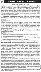 Delhi Transco Limited Employment Notice 2016 www.indgovtjobs.in