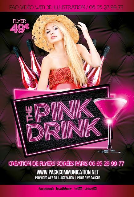 création flyers soirées thème The Pink Drink