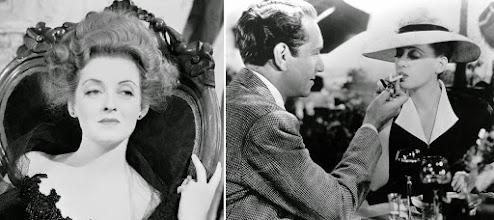 """Photo: Bette Davis como Regina Giddens em """"Pérfida"""" e depois fazendo par romântico com Paul Henreid em """"A Estranha Passageira""""."""