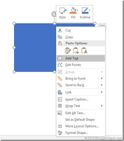 Menambahkan teks pada kotak di Microsoft Word