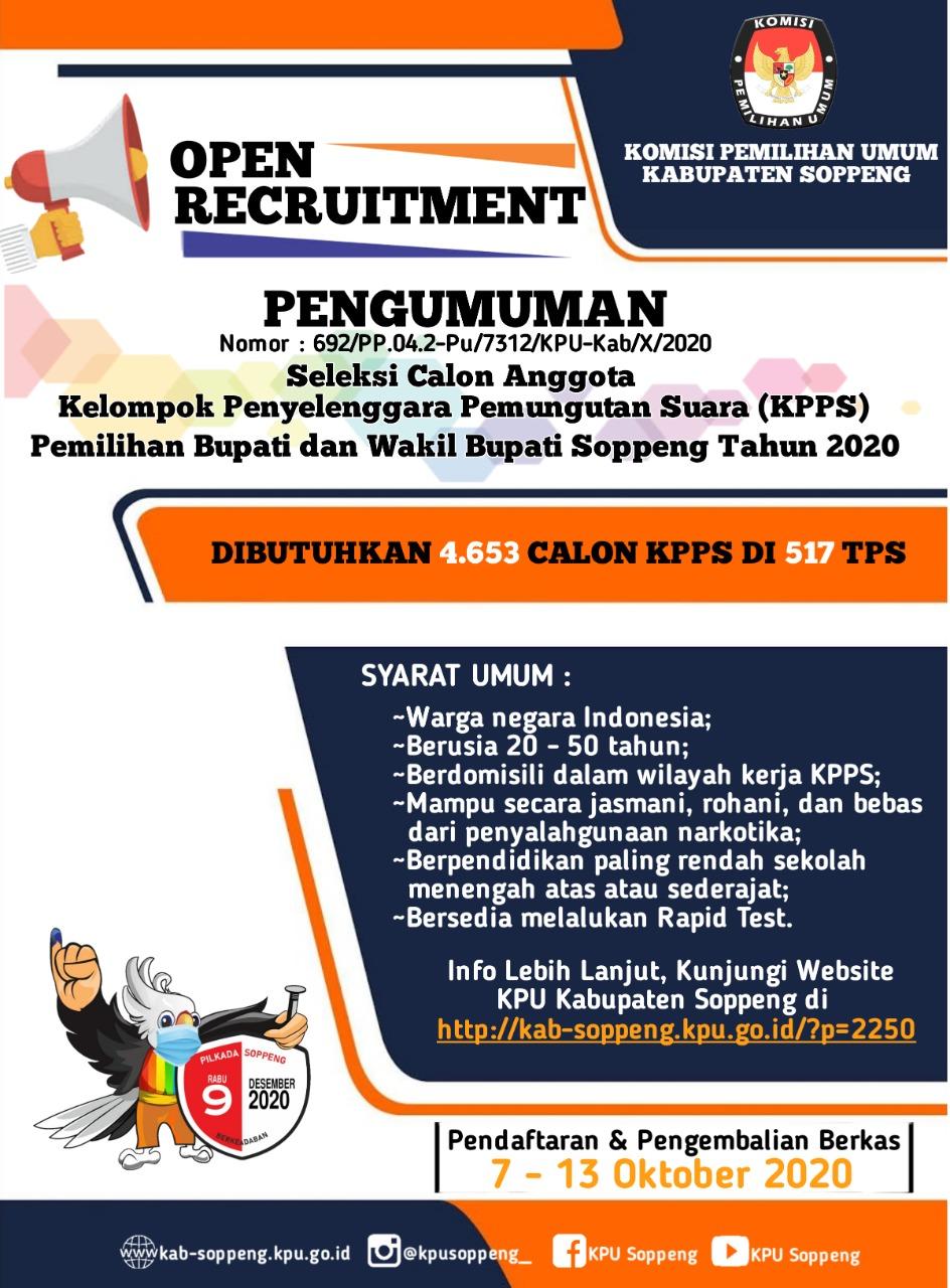 KPU Soppeng Buka Pendaftaran Calon KPPS Pemilihan Bupati dan Wakil Bupati Soppeng Tahun 2020