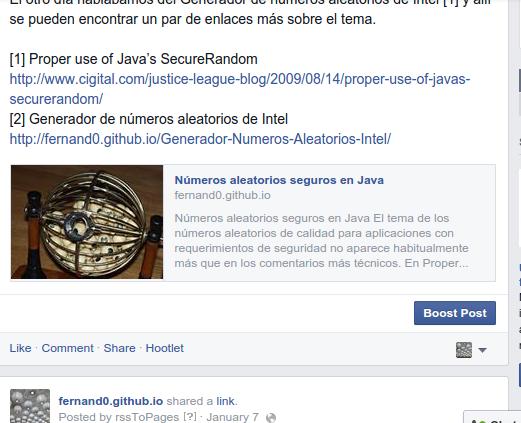 Enlaces en Página de Facebook