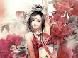 Red Roses And Fantasy Girl Samurai