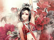 Red Roses And Fantasy Girl Samurai