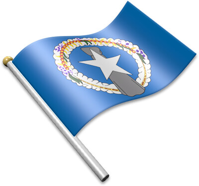 The Northern Marianan flag on a flagpole clipart image