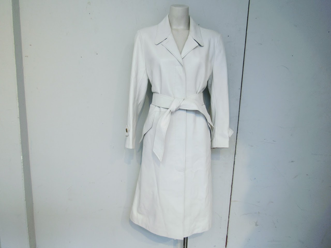 Hermes White Leather Trench Coat
