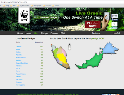 Earth hour 2011, Earth Hour Malaysia 2011, the most green state, live infographic, bumi hijau, alam sekitar