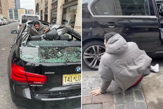 Gran susto y milagro en Nueva Jersey: suicida saltó nueve pisos y aterrizó en un lujoso auto BMW