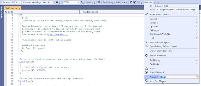 Visual Studio Community avec l'extension ArduinoIDE