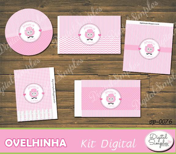 Kit Digital Ovelhinha Rosa  .....artesdigitalsimples@gmail.com