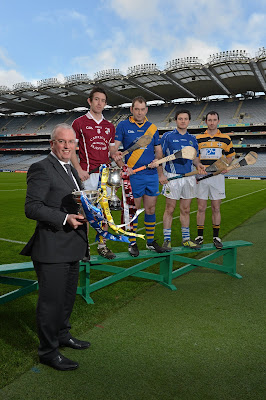 31 January 2013; At a photocall in advance of the AIB GAA Hurling and Football Junior and Intermediate Club Championship Finals on Saturday 9th and Sunday 10th February, in Croke Park, is Neil Hosty, AIB Executive, with team captains, from left, David Langton, Clara, Offaly, Aidan Ryan, St. Gabriels, London, Jonjo Farrell, Thomastown, Kilkenny, Conall Maskey, Fullen Gaels, Manchester. Croke Park, Dublin. Picture credit: Brian Lawless / SPORTSFILE *** NO REPRODUCTION FEE ***