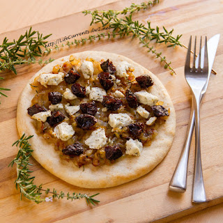 Pizzettas with California Dried Plums & Caramelized Onions.