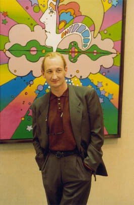 At the Peter Max exhibit in St Petersburg, Russia while filming 'Danse Macabre'.
