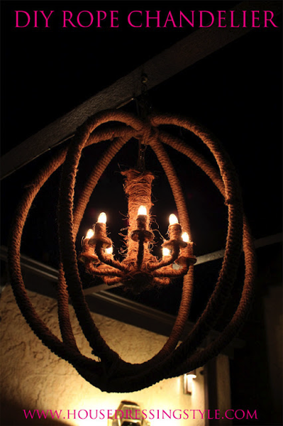 Rope and Hula Hoop Chandelier Makeover