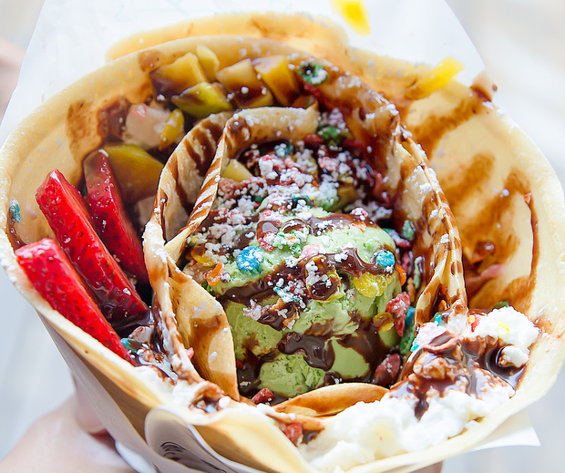 photo of crepes filled with Nutella, strawberries, mangoes, green tea ice cream, fruity pebbles and chocolate sauce
