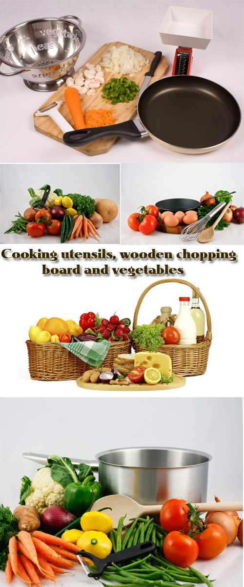 Stock Photo: Cooking utensils, wooden chopping board and vegetables