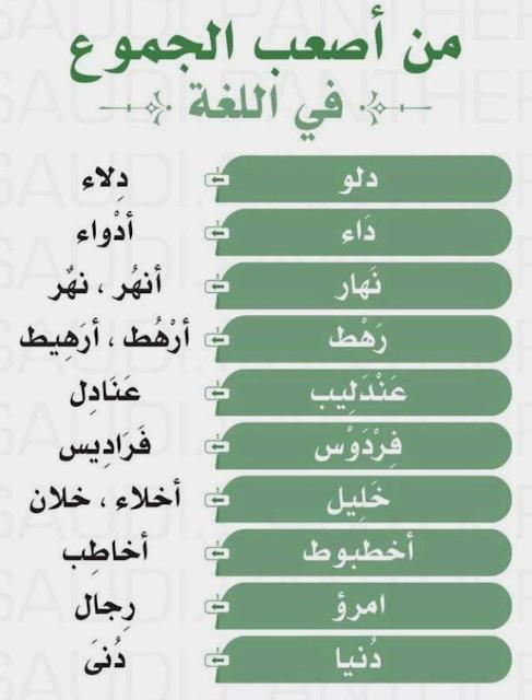اصعب الجموع في اللغة العربية