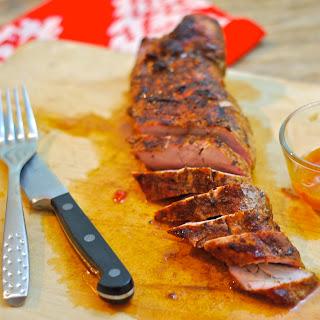 Grilled Pork Tenderloin with Mango Ginger Chutney Glaze.