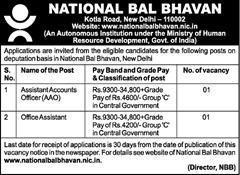 National Bal Bhavan Jobs 2017
