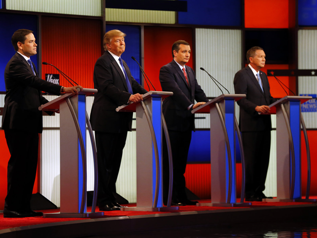 At a Republican presidential primary debate on 3 March 2016, candidates (from left) Marco Rubio, Donald Trump, Ted Cruz, and John Kasich appear on stage at Fox Theatre in Detroit. Rubio later dropped out of the race. Photo: Paul Sancya / AP