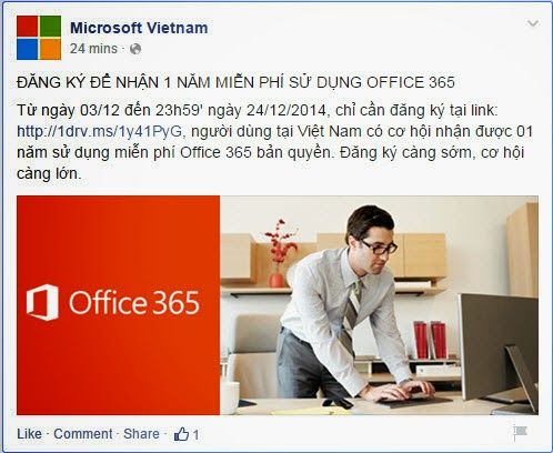 Mời mọi người dùng miễn phí 1 năm OFFICE 365 - 55649