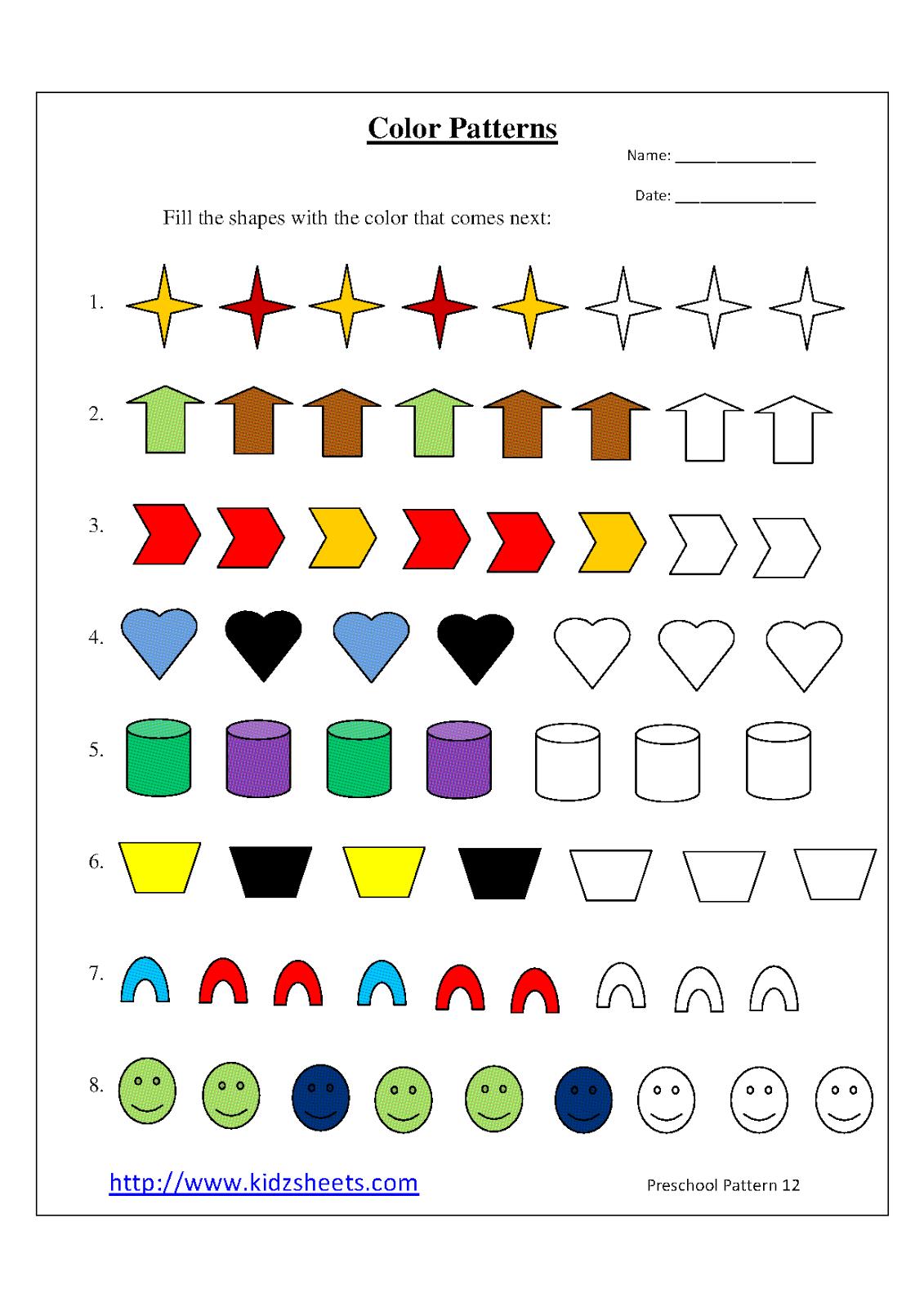 Growing Patterns Worksheet First Grade